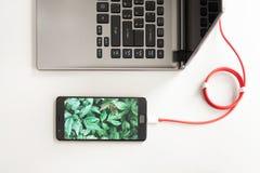 Место для работы с компьтер-книжкой и поручая smartphone на белом столе Smartphone с экраном зеленых растений подключает к портат Стоковые Фотографии RF