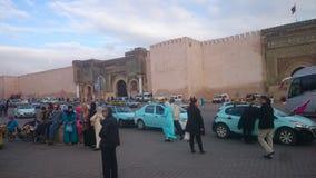 Место Bab al-Mansour историческое царствования Moulay Ismail стоковые изображения