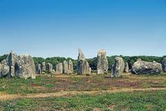 Место Carnac megalithic в Бретани, Франции стоковые изображения