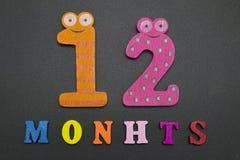 12 месяцев на черной предпосылке Стоковые Фотографии RF