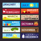 месяцы знамени установили год Стоковое Изображение