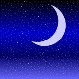 Месяц в небе звездной ночи иллюстрация штока