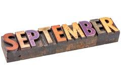 Месяц в сентябре в деревянном типе Стоковые Фото