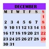 Месяц декабрь 2019 дизайна календаря иллюстрация вектора