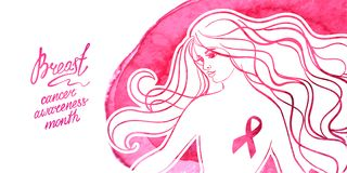Месяц осведомленности рака молочной железы в октябре Стоковое Фото