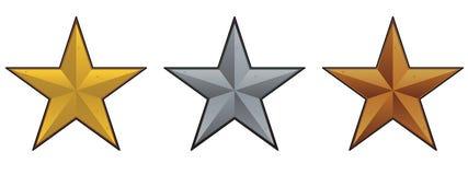 металлическая звезда комплекта иллюстрация вектора