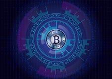 Металлическая иллюстрация вектора bitcoin, футуристический дизайн на темноте Стоковые Изображения