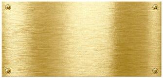 Металлическая пластина нержавеющего золота сияющая с головками гвоздя винта Стоковое фото RF