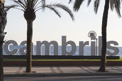 Металлическая пластинка города Cambrils стоковая фотография rf