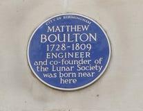 Металлическая пластинка Мэттью Boulton голубая в Бирмингеме, Англии Стоковые Изображения