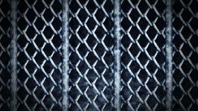 Металлическая проволочная изгородь на темной предпосылке Цепь металла ячеистой сети стального Анимация петли CG иллюстрация вектора