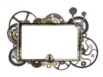 Металлическая рамка с винтажными шестернями и cogwheel машины Стоковая Фотография RF