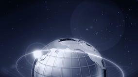 Металлическая сфера земли с отражениями серебряная земля 3d Анимация петли CG иллюстрация вектора