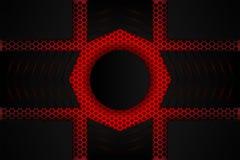 Металлическая черная тень на красной сетке иллюстрация вектора