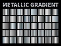 Металлические градиенты Серебряная фольга, серая сияющая рамка ленты границы градиента металла, алюминиевый сияющий хром с отраже иллюстрация вектора