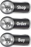 Металлические и лоснистые элементы сети/кнопки для он-лайн покупкы Стоковое Фото