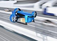 Металлический голубой VTOL трутень с поставкой упаковывает летание около автодорожного моста иллюстрация вектора
