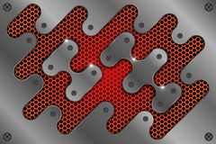 Металлический лист на красной сетке как абстрактная предпосылка бесплатная иллюстрация