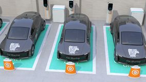 Металлический серый электрический автомобиль в месте для стоянки делить автомобиля только иллюстрация вектора