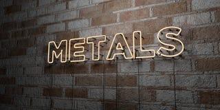 МЕТАЛЛЫ - Накаляя неоновая вывеска на стене каменной кладки - 3D представило иллюстрацию неизрасходованного запаса королевской вл иллюстрация вектора