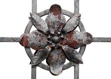 металл загородки элемента изолированный цветком старый Стоковое Изображение