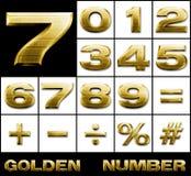 металл золота нумерует установленные символы Стоковые Фото
