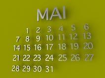 Металл календаря 3D Mai на зеленой предпосылке Стоковые Фотографии RF