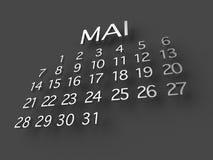 Металл календаря 3D Mai на серой предпосылке иллюстрация штока
