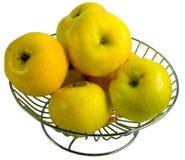 металл корзины яблок золотистый Стоковое Фото
