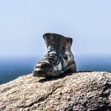 Металл на маяке Finisterre, Camino Сантьяго, Галиции, Испании Стоковое Фото