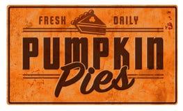 Металл олова рекламы знака искусства пирога тыквы винтажный ретро стоковая фотография