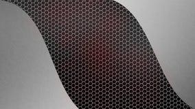 Металл почищенный щеткой конспектом серебряный на сером цвете и красной шестиугольной предпосылке сетки металла стоковое фото