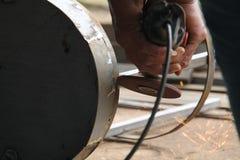 Металл с точильщиком, работник sawing работника сваривая сталь, версию 15 Стоковые Изображения RF