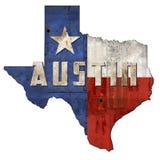 Металл Grunge знака флага Остина TX Техаса стоковое фото