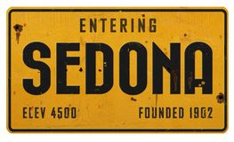 Металл Grunge шоссе знака улицы Sedona Аризоны Бесплатная Иллюстрация