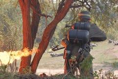 метатель воина пламени немецкий Стоковые Фотографии RF