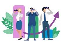 Метафора поиска работника, поиска людей в минималистичном стиле Вектор шаржа стоковые изображения rf