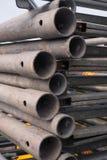 Металл гальванизированный лесами сложил славно в пакете Конец-вверх Абстрактная предпосылка металла Абстрактная предпосылка метал Стоковое Фото