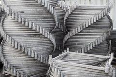 Металл гальванизированный лесами сложил славно в пакете Конец-вверх Абстрактная предпосылка металла Абстрактная предпосылка метал Стоковые Фото