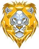 Металлическая иллюстрация вектора головы льва золота и серебра Стоковые Фотографии RF