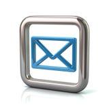 Металлическая округленная квадратная рамка с голубым значком почты иллюстрация вектора