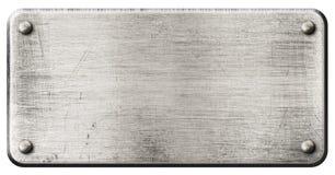 Металлическая пластина Grunge стальная при изолированные заклепки Стоковые Фотографии RF