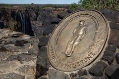 Металлическая пластинка Давид Ливингстон - Victoria Falls, Африка стоковая фотография