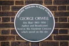 Металлическая пластинка Джордж Orwell в Лондоне Стоковое фото RF