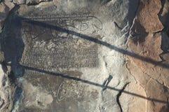 Металлическая пластинка подписанная Чарлзом Дарвином в Сантьяго Стоковое Изображение