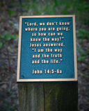 Металлическая пластинка стиха библии на пне Стоковая Фотография