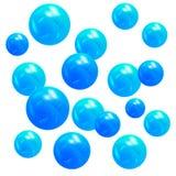 металлические голубые шарики 3D вектор изображения иллюстрации элемента конструкции Стоковые Фотографии RF
