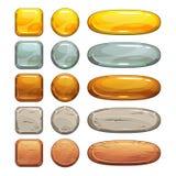Металлические, каменные и деревянные установленные кнопки Стоковое Изображение