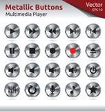 Металлические кнопки - мультимедиа Стоковые Фотографии RF