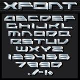 Металлические серебряные алфавит и номера Стоковая Фотография RF
